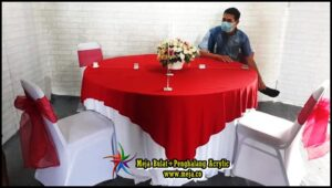 Sewa Meja Bulat + Penghalang Acrylic Edisi Social Distencing