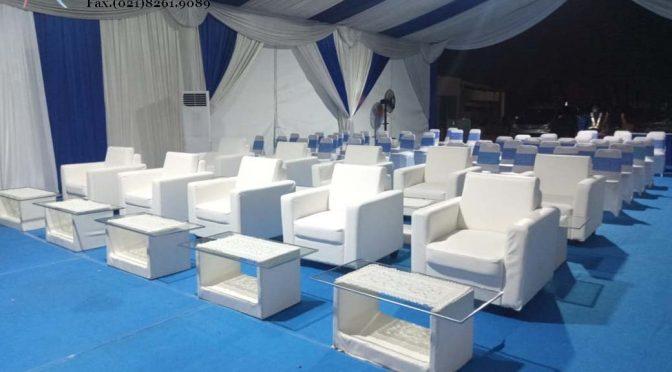 Sewa meja kaca VIP Putih Premium kualitas terbaik